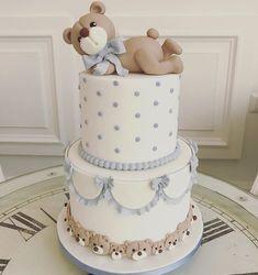Cake Battesimo bimbo Torta Baby Shower, Baby Shower Cakes For Boys, Baby Boy Cakes, Baby Boy Shower, First Birthday Cakes, Baby Birthday, Baby Boy Christening Cake, Bolo Fack, Baby Shower Venues