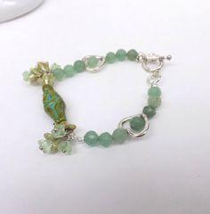 Fertility  Bracelet Aventurine Bracelet Czech Goddess by lyrisgems, $29.00