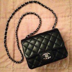 40720163bd Chanel square mini flap black caviar silver hardware  Chanelhandbags Gucci  Handbags
