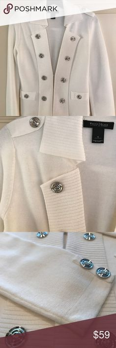 "WHITE HOUSE BLACK MARKET Sweater Jacket EEUC Worn once and cleaned :). Beautiful cream sweater with silver button detail.  Front has 2 ""hidden"" hook eye closures.  61% cotton 39% acrylic.  Machine Wash:).  Like NEW condition.  Wore for about 1 hour!!  Cream color is NOT shaded as it looks in photos-- it's perfect!! White House Black Market Sweaters"