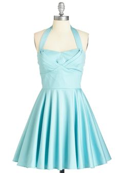 Traveling Cupcake Dress in Aqua - Blue, Solid, Pleats, Rockabilly, Pinup, 50s, 60s, Fit & Flare, Halter, Spring, Summer, Variation, Short, Party, Vintage Inspired, Pastel