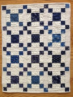 This is a doll quilt. We could make one about 10 times this big and have a ton of white space for you--- plus navy is your color.like the illusion of depth in this pattern Two Color Quilts, Blue Quilts, Scrappy Quilts, Easy Quilts, Small Quilts, Mini Quilts, White Quilts, Crib Quilts, Primitive Quilts