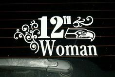 White Seattle Seahawks 12th Woman Vinyl Sticker Decal! GO HAWKS! #SeattleSeahawks