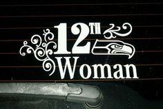 White Seattle Seahawks 12th Woman Vinyl Sticker Decal! GO HAWKS! #SeattleSeahawks