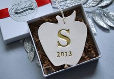 Personalized Teacher Gift - Apple Ornament With Last Name Initial - Gift Boxed and Ready to Give by Susabella #teacherappreciation #teachergift #onabudget