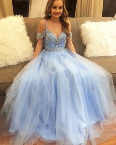 Prom Dress For Teens, A-Line Straps Floor-Length Blue Tulle Prom Dress with Beading, cheap prom dresses, beautiful dresses for prom. Best prom gowns online to make you the spotlight for special occasions. Prom Dresses For Teens, Plus Size Prom Dresses, Cheap Prom Dresses, Formal Dresses, Puffy Prom Dresses, Quinceanera Dresses, Long Dresses, Dress Long, A Line Prom Dresses
