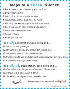 Kitchen cleaning checklist for kids cleaning checklist for kids teaching kids to clean the kitchen a printable checklist free printable cleaning checklist spring cleaning planner! Flylady, Deep Cleaning Tips, Cleaning Hacks, Cleaning Quotes, Cleaning Products, Fee Du Logis, House Cleaning Checklist, Cleaning Schedules, Clean Kitchen Checklist