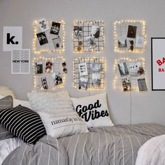 43 Creative Ways Fairy Lights Bedroom Ideas Teen Room Decor Dorm Room Walls, Cool Dorm Rooms, Modern Bedroom Decor, Room Decor Bedroom, Cozy Bedroom, Bed Room, Bedroom Decor For Teen Girls, Contemporary Bedroom, Master Bedroom