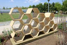 Honeycomb shaped planter/sculpture for the garden