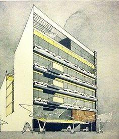 Otro espléndido dibujo de don Augusto H. Alvarez: edificio de departamentos, 1963. #forma #artearquitectura #archdailymx #archdaily