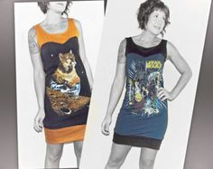 DIY Reconstructed Upcycled TShirt Dress with Sweetheart Bodice - Custom Size XS S M L