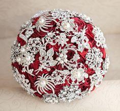 Brooch bouquet. Deposit on a Cherry and Silver wedding brooch bouquet, Jeweled Bouquet. on Etsy, $60.00