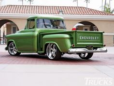 1956 Chevy stepside pickup truck  - exceptional green paint job - sweet !!!