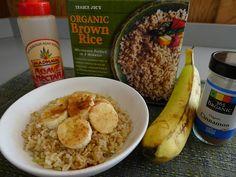 No-oil, vegan Brown Rice and Banana Breakfast Cereal