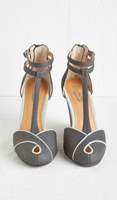 Grey T-Strap Heels