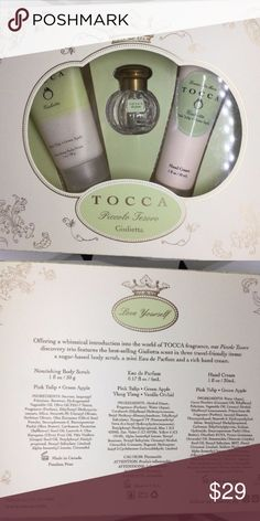 Tocca Piccolo Tesoro Giulietta Pink Tulip Apple Mini Gift Set. Brand New!   Includes:  - Nourish Body Scrub 30 ml/1 oz  - Hand Cream 30 ml/1 oz  - Eau de Parfum 5 ml/0.17 oz Pink Tulip Green Apple Tocca Makeup