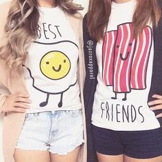 t-shirt egg top bacon best friends top matching best friend shirts summer bff fashion cool tumblr lookbook summer outfits style girly trendy quote on it bestfriend shirt instagram swag dope best friend shirts matching tee shirts girl neon cute pretty streetwear beautiful kawaii urban alternative love crop