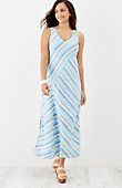 "linen striped maxi dress | J.Jill DETAILS STYLE NO.6M038R Our sleeveless linen maxi dress has a front and back V-neckline. Multiseam styling places the yarn-dyed stripes in varying directions. Side vents. Long: M 50½"", P 47½"", W 50"", T 53½"" Sleeveless Shell: 100% linen woven. Lining: 60% cotton and 40% modal rayon knit. Machine wash, tumble dry, low Imported"