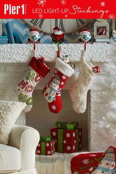 Hang up a double dose of Christmas cheer! These Pier 1 stockings brighten your mantel with the anticipation of a visit from Santa, and also with our battery-operated, timer-controlled, multicolor LEDs.
