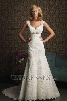 A-Line/Princess V-neck Straps Chapel Train Lace Wedding Dress