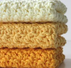 Crochet Cotton Dishcloths Sunshine Yellow by Sweetbriers on Etsy