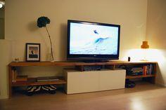 Made to measure Bestå and oak TV bench - IKEA Hackers Den Furniture, Media Furniture, Step Shelves, Tv Bench, Ikea Hackers, Home Living Room, Home Projects, Interior Decorating, Sweet Home