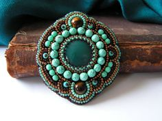 Bead embroidery Brooch Bead embroidered jewelry Agate Tigers eye cabochons Teal Green Turquoise Copper Brown Oriental jewelry MADE TO ORDER. $64.00, via Etsy.