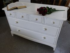 """NOW SOLD Shabby Chic """"Stag"""" drawers £195 (If you would like to buy this item call the sales office on 01903 753377 or visit our showroom www.thergf.co.uk) The RGF Restoration Team is the South East's leading furniture up-cycling company. Our skills include upholstery, restoration, and paint effect including shabby chic, farmhouse distress and French provincial."""