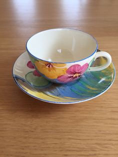 CLARICE CLIFF BIZARRE  DELECIA PANSIES  CUP AND SAUCER c1930s