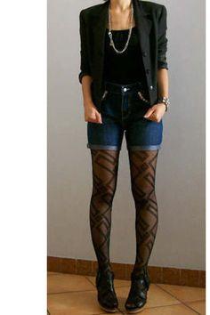 Motivi+black+blazer+and+DIY+high+waist+denim+shorts++