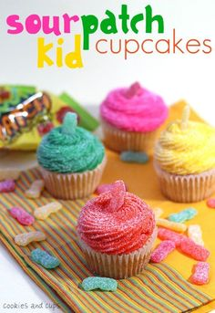 Sour patch kid cupcakes: Sour Patch Kids are my guilty pleasure. My kids would love these.