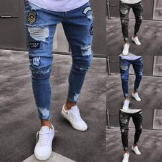177bf5e1 iMakcc Mens Skinny Feet Distressed Ripped Jeans Frayed Slim Fit Destroyed  Denim Pants S Dark Blue * Want additional info? Click on the image.