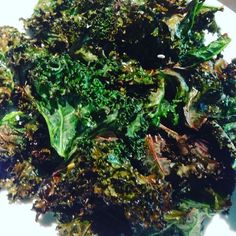 Oh my heavenly goodness. Kale chip they just Devine.  Wash the Kale and remove the leaves off the stork.  Gently towel dry the leaves  Toss the dries leaves in olive oil and a pinch of salt Heat oven to 180C  Put the leaves onto a flat tray and put in oven for about 7 minutes and then toss and put back into the oven for about another 5 minutes.  When the leaves start to go brown it means it is crystalising to a crisp.  Take out to check if crisp it's ready to eat. ENJOY!  Please like comment…