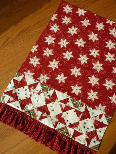 Christmas Patchwork Kitchen Towel  Poinsettia by TheQuiltedKitchen