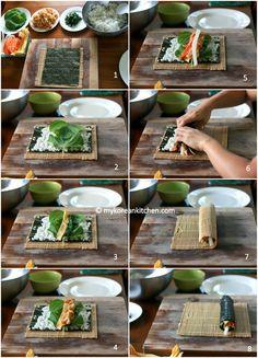 Yubu Kimbap (Kimbap with Seasoned Deep Fried Tofu Pouches) - Rolling Steps