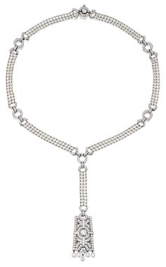 PLATINUM, CULTURED PEARL AND DIAMOND SAUTOIR, TIFFANY & CO. Of Art Deco inspiration set with numerous round, pear-shaped and square emerald-cut diamonds weighing 6.34 carats, accented by seed pearls measuring approximately 1.8 mm, length 18 inches, signed Tiffany & Co., numbered 22465104.