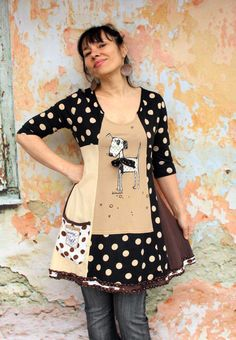 Funny polka dots recycled patchwork dress tunic boho style