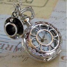 Alice In Wonderland Tea Party #Steampunk Pocket #Watch #Necklace