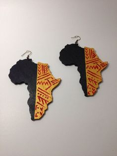 Hand Painted Wooden Africa Continent Tribal Earrings by LaVieBelle, African Earrings, Tribal Earrings, African Jewelry, Diy Earrings, Fabric Earrings, Wooden Earrings, Wooden Jewelry, Handmade Jewelry, Tribal African