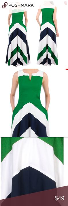 "Eshakti ColorBlock Chevron Dress Beautiful green, white, and navy dress in unworn condition. Length is 57"", and this dress has pockets! Side zip and 100% cotton eshakti Dresses Maxi"