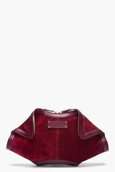 Alexander Mcqueen Oversize Burgundy Suede De Manta Clutch in Red (burgundy) | Lyst ; $1115