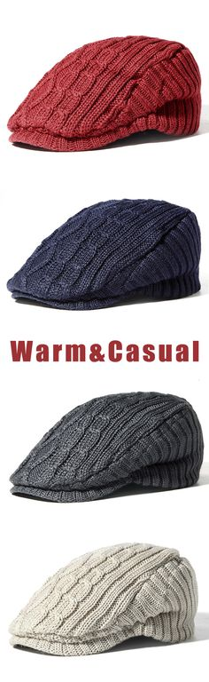 Men Vintage Knitted Beret Hats Winter Outdoor Keep Warm Newsboy Dad Hat.  Blair Jordan · Caps 108f70718686