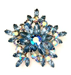Large Blue Rhinestone Brooch, Snowflake, Star, Aurora Borealis, Silver Tone, Attributed Beau Jewels #vogueteam #vjse2 #teamlove #plsfollowthx #vintagejewelry