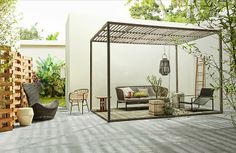 Furniture, # Terrace # Mazz garden furniture While old within concept, the actual pergola continues to be experiencing somewhat of a present day rebirth these days. An elegant outdoor housing without surfaces (or if not made as a. Outdoor Space, Outdoor Rooms, Exterior Design, Pergola Designs, Outdoor Design