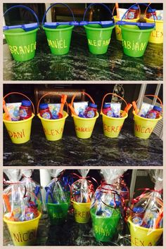 Beach buckets with names on it to give it a special touch !!I stuffed them with bubbles a beach ball and shovel wrapped with clear plastic bags perfect gift for students at the end of the school year !!