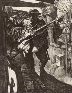 Making Soldiers in the Trenches by Eric Kennington (1917) / Eric Kennington was invalided out of the Army in 1915 but stayed on as a war artist, tracing the evolution of the war toward hopeless stalemate.