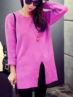 Trendy Round Neck Long Sleeves Slit Sweater For Women