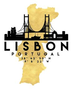 LISBON PORTUGAL SILHOUETTE SKYLINE MAP ART -  The beautiful silhouette skyline of Lisbon and the great map of Portugal in gold, with the exact coordinates of Lisbon make up this amazing art piece. A great gift for anybody that has love for this city.  lisbon portugal downtown silhouette skyline map coordinates souvenir gold deificus art