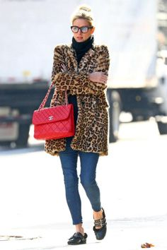 Nicky Hilton wearing Chanel in the Business Red Flap Bag, Miu Miu Double-Strap Leather and Shearling Ballet Flats and Topshop Leopard Print Faux Fur Coat