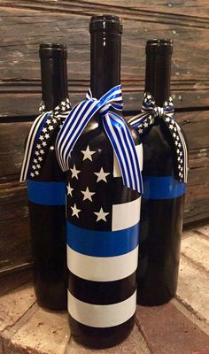 glass bottle crafts Back the Blue bottle set, Police wine bottles, Thin BLue Line, Police gift, Blue Lives Matter Empty Wine Bottles, Wine Bottle Art, Painted Wine Bottles, Lighted Wine Bottles, Alcohol Bottles, Diy Bottle, Blue Bottle, Bottles And Jars, Christmas Wine Bottles
